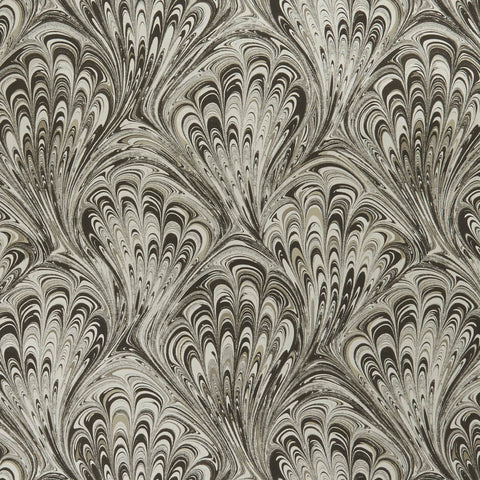 Pavone Charcoal/Gold Wallpaper by Clarke & Clarke - Decor Rooms