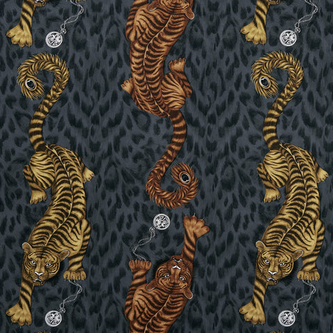 Tigris Flame Fabric by Clarke & Clarke - Decor Rooms