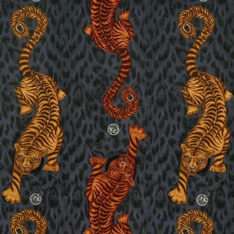 Tigris Flame Velvet Fabric by Clarke & Clarke - Decor Rooms