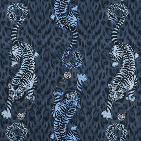 Tigris Navy Fabric by Clarke & Clarke - Decor Rooms