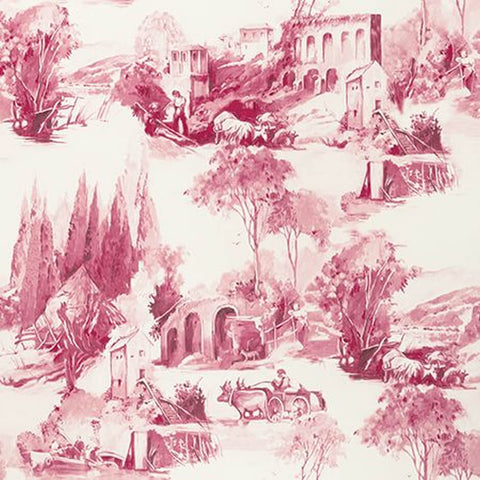 Anastacia Raspberry Wallpaper by Clarke & Clarke - Decor Rooms