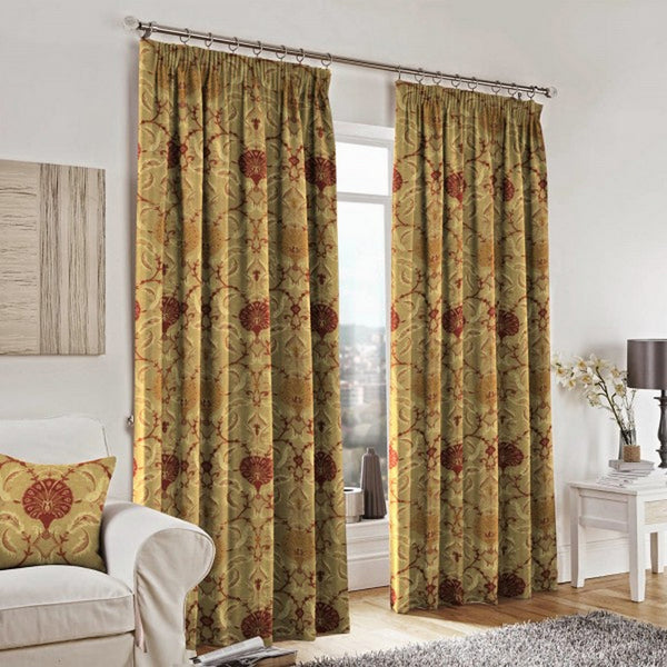 Curtains and cushions made from Ottoman Spice Fabric by Jim Dickens at Decor Rooms