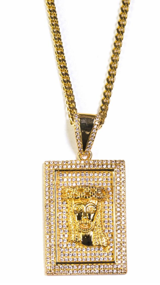 Golden Gilt Square Jesus Piece