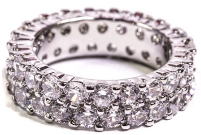 Golden Gilt Eternity Ring - Silver Polished