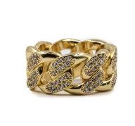 Golden Gilt Studded Cuban Link Ring