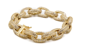 Golden Gilt Studded Chain Rolo Bracelet