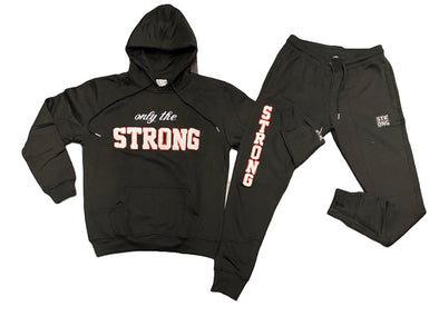 "STRONG ""ONLY THE STRONG"" SWEATSUIT SET (BLACK/WHITE/RED OUTLINE)"