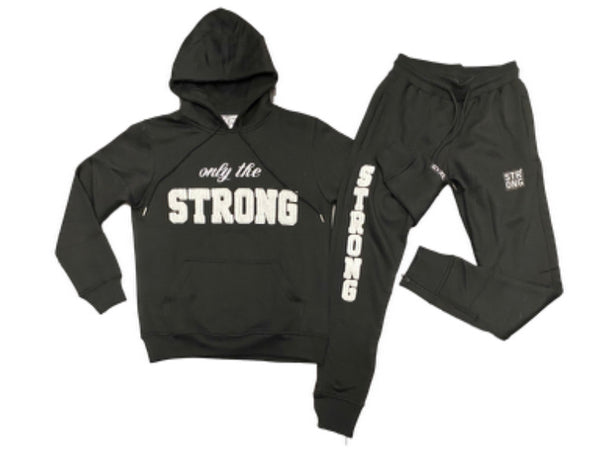 "STRONG ""ONLY THE STRONG"" SWEATSUIT SET (BLAC/WHITE)"