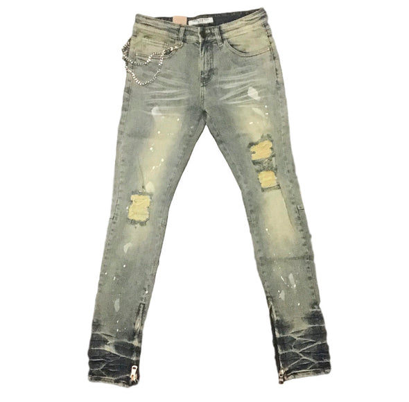 Reelistik NYC White Paint Splatter  Premium Stretch Patch Denim
