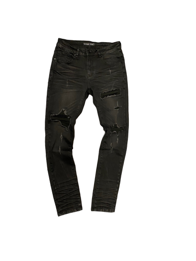 Foreign Local Black Wash Distressed Denim