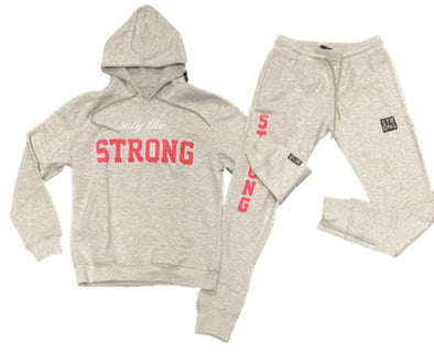 "STRONG ""ONLY THE STRONG"" SWEATSUIT SET (GREY/PINK)"