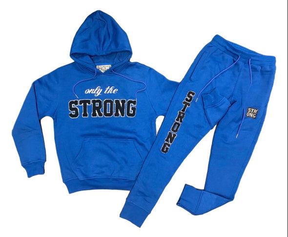 "STRONG ""ONLY THE STRONG"" SWEATSUIT SET (Blue/Blk/White)"