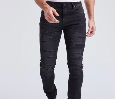 Foreign Local Distressed Black Denim