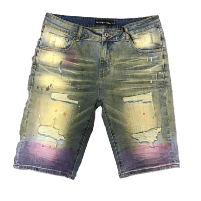 Foreign Local Splatter Sand Wash Distressed Denim Shorts