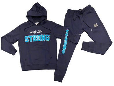 "STRONG ""ONLY THE STRONG"" SWEATSUIT SET (NAVY/BLUE)"