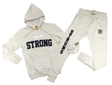 "STRONG ""ONLY THE STRONG"" SWEATSUIT SET (GREY/NAVY BLUE)"