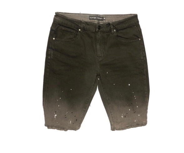 Foreign Local Black Splatter Distressed Denim Shorts