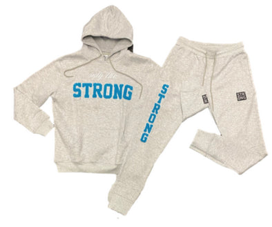 "STRONG ""ONLY THE STRONG"" SWEATSUIT SET (GREY/CAROLINA BLUE)"