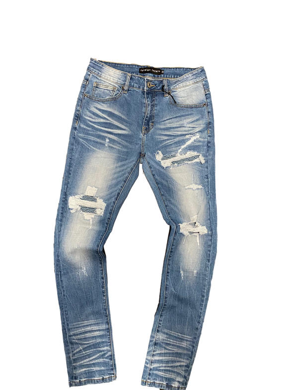 Foreign Local Blue Wash Distressed Denim