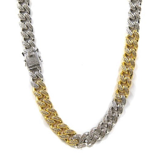 Golden Gilt 2 Tone Studded Cuban Link Choker