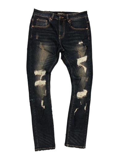 Foreign Local Rip And Repair Slim Dark Indigo Jeans