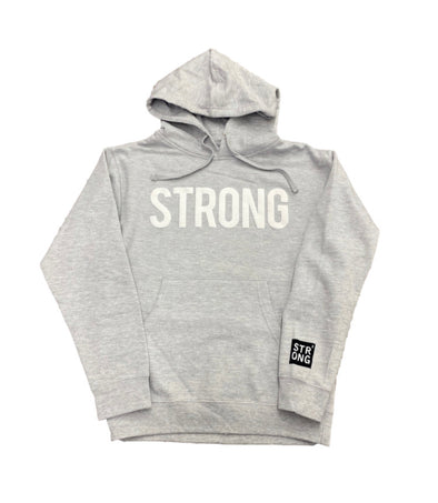 STRONG 3D PUFF LOGO HOODY  (HEATHER GREY)