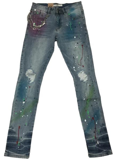 Reelistik NYC Multi Color Splatter Premium Stretch Patch Denim