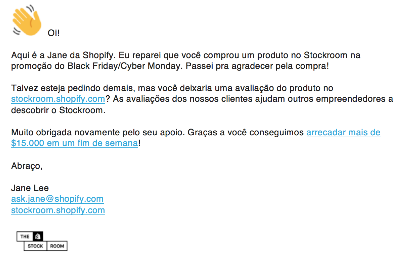 Shopify Stockroom E-mail