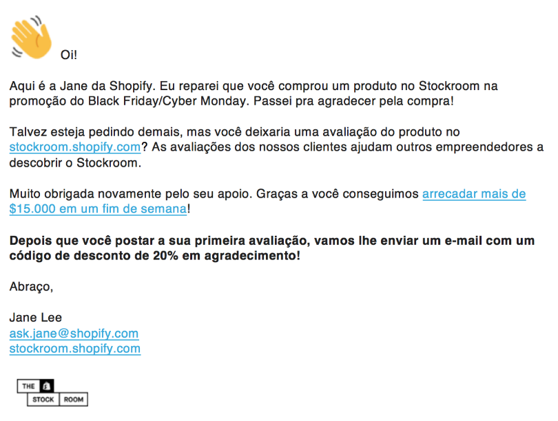 E-mail da Shopify Stockroom
