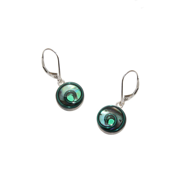 10mm Green Abalone Earrings