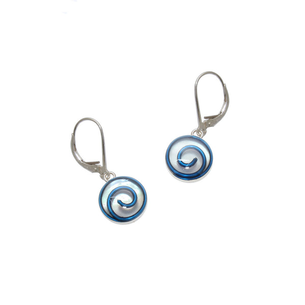 10mm Blue Mother of Pearl Earrings