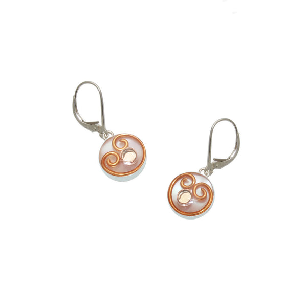 10mm Copper Mother of Pearl Earrings
