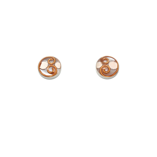 10mm Copper Mother of Pearl Studs