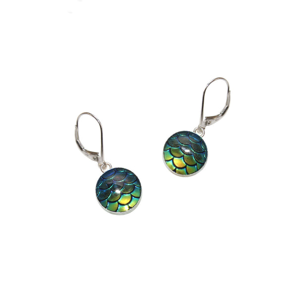 10mm Navy Mermaid Earrings
