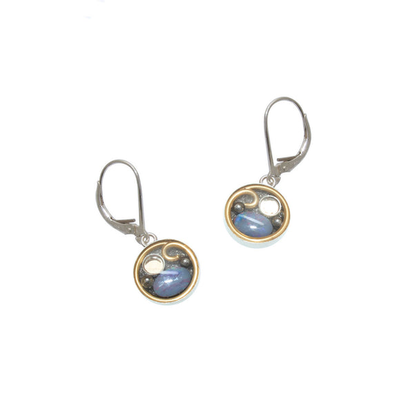 10mm Brass Opal Earrings