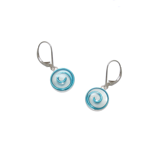 10mm Sky Mother of Pearl Spiral Earrings