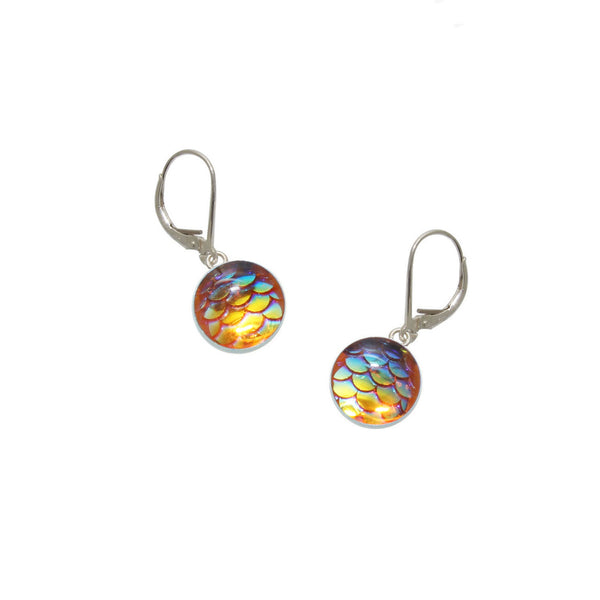 10mm Orange Mermaid Earrings