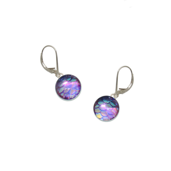 10mm Purple Mermaid Earrings