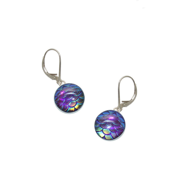 12mm Purple Mermaid Earrings