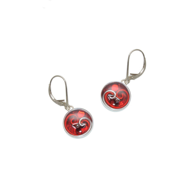 12mm Red Python Earrings