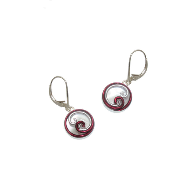 12mm Burgundy Mother of Pearl Earrings