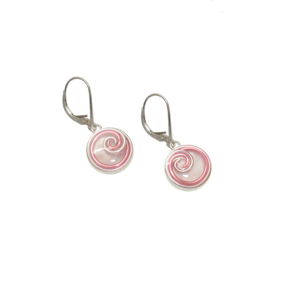 12mm Silver & Pink Mother of Pearl Earrings