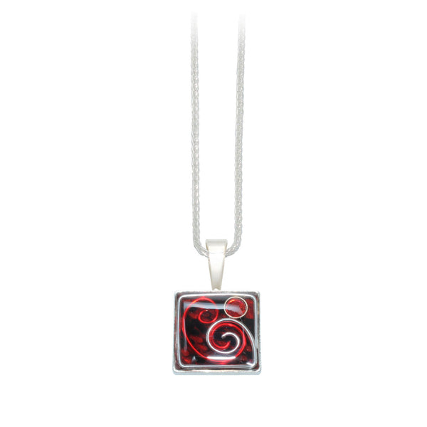 16mm Red Python Square Pendant