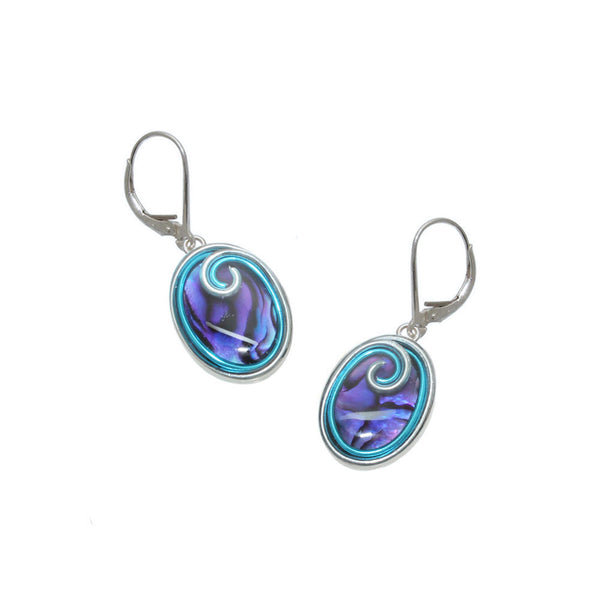 18x13mm Purple & Sky Abalone Earrings
