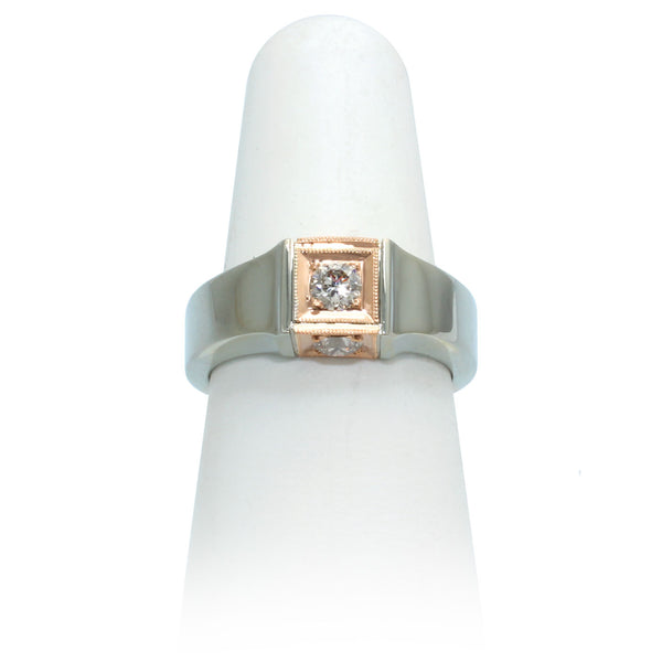 Size 7 - White & Rose Gold Diamond Ring