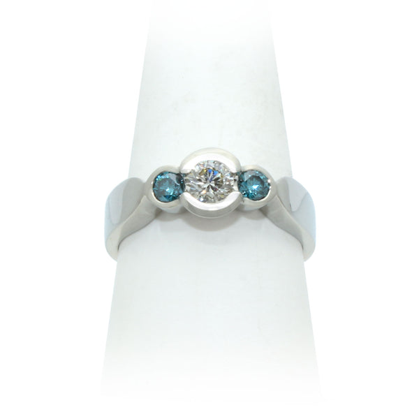 Size 9 - White & Blue Diamond Ring