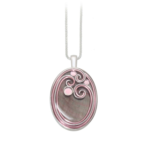 Tan Mother of Pearl & Pink Pendant