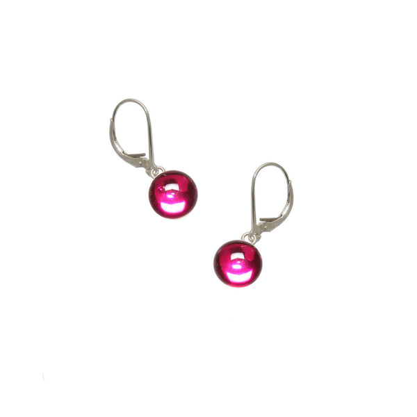 8mm Pink Gumdrop Earrings