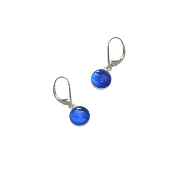 8mm Blue Gumdrop Earrings