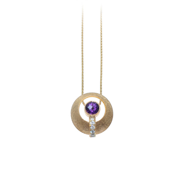 Amethyst & Diamond Circle Pendant